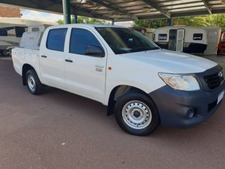 2013 Toyota Hilux TGN16R MY14 Workmate Double Cab 4x2 White 4 Speed Automatic Utility.