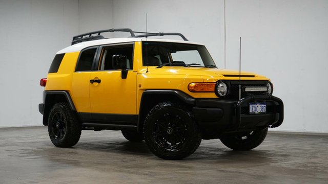 Used Toyota FJ Cruiser GSJ15R Welshpool, 2012 Toyota FJ Cruiser GSJ15R Yellow & White 5 Speed Automatic Wagon