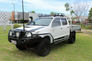 2012 Toyota Hilux KUN26R MY12 SR Double Cab White 5 Speed Manual Cab Chassis.