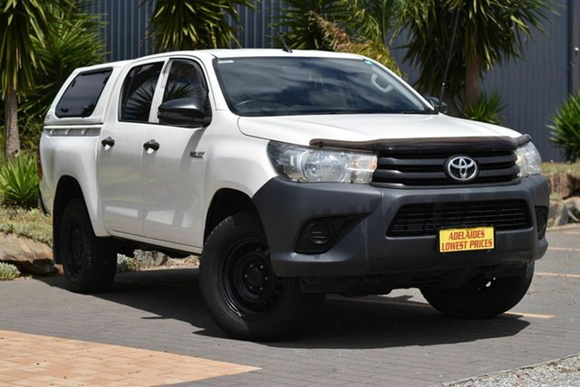 Used Toyota Hilux GUN125R Workmate Double Cab Morphett Vale, 2017 Toyota Hilux GUN125R Workmate Double Cab White 6 Speed Sports Automatic Utility