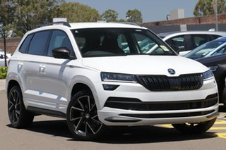 2020 Skoda Karoq NU MY21 140TSI DSG AWD Sportline Moon White 7 Speed Sports Automatic Dual Clutch.