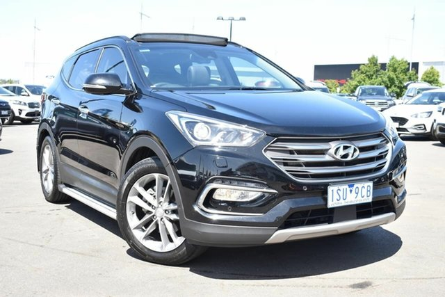 Used Hyundai Santa Fe DM3 MY16 Highlander Essendon Fields, 2015 Hyundai Santa Fe DM3 MY16 Highlander Black 6 Speed Sports Automatic Wagon