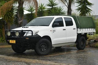 2013 Toyota Hilux KUN26R MY12 SR Double Cab White 5 Speed Manual Cab Chassis.