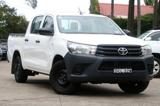 2015 Toyota Hilux TGN121R Workmate Glacier White 6 Speed Automatic Dual Cab Utility.
