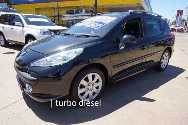 Used Peugeot 207 A7 Series II MY10 XT Touring Dandenong, 2009 Peugeot 207 A7 Series II MY10 XT Touring Obsidian Black 5 Speed Manual Wagon