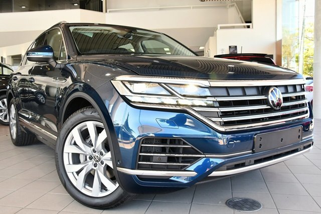 New Volkswagen Touareg CR MY21 210TDI Tiptronic 4MOTION Elegance Brookvale, 2020 Volkswagen Touareg CR MY21 210TDI Tiptronic 4MOTION Elegance Aquamarine Blue Metallic 8 Speed