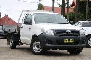 2013 Toyota Hilux TGN16R MY12 Workmate Glacier White 4 Speed Automatic Cab Chassis.