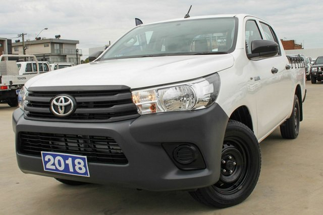 Used Toyota Hilux GUN122R Workmate Double Cab 4x2 Coburg North, 2018 Toyota Hilux GUN122R Workmate Double Cab 4x2 White 5 Speed Manual Utility