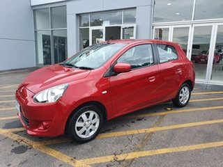 2013 Mitsubishi Mirage LA MY14 LS Red 5 Speed Manual Hatchback.