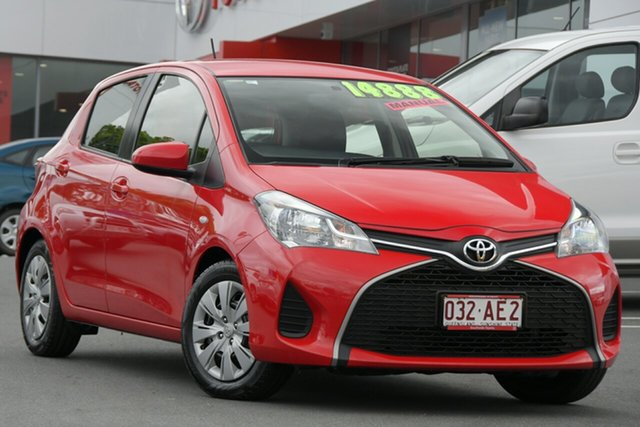 Pre-Owned Toyota Yaris NCP130R Ascent Woolloongabba, 2015 Toyota Yaris NCP130R Ascent Cherry Red 5 Speed Manual Hatchback