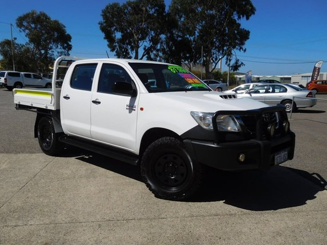 Used Toyota Hilux KUN26R MY14 SR Double Cab Wangara, 2014 Toyota Hilux KUN26R MY14 SR Double Cab White 5 Speed Automatic Cab Chassis