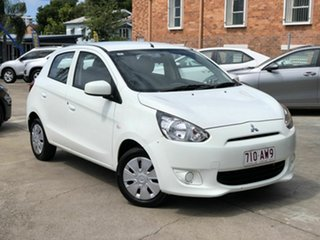 2013 Mitsubishi Mirage LA MY14 ES White 5 Speed Manual Hatchback.