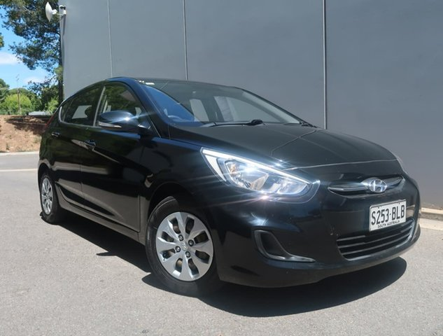 Used Hyundai Accent RB4 MY16 Active Reynella, 2016 Hyundai Accent RB4 MY16 Active Black 6 Speed Constant Variable Hatchback