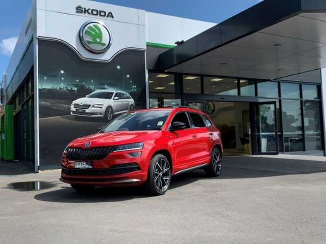 Demo Skoda Karoq NU MY21 140TSI DSG AWD Sportline Botany, 2020 Skoda Karoq NU MY21 140TSI DSG AWD Sportline Red 7 Speed Sports Automatic Dual Clutch Wagon