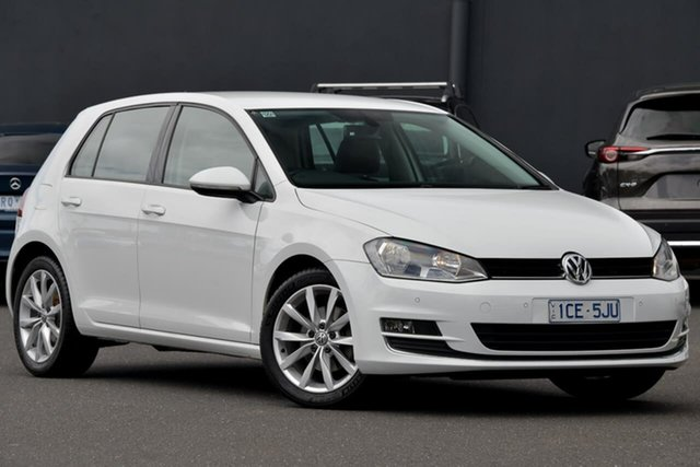 Used Volkswagen Golf VII MY15 103TSI DSG Highline Moorabbin, 2014 Volkswagen Golf VII MY15 103TSI DSG Highline White 7 Speed Sports Automatic Dual Clutch
