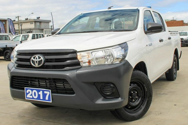Used Toyota Hilux TGN121R Workmate Double Cab 4x2 Coburg North, 2017 Toyota Hilux TGN121R Workmate Double Cab 4x2 White 6 Speed Sports Automatic Utility