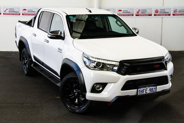 Pre-Owned Toyota Hilux GUN126R TRD White (4x4) Rockingham, 2017 Toyota Hilux GUN126R TRD White (4x4) Glacier White 6 Speed Automatic Dual Cab Utility