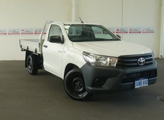 2018 Toyota Hilux TGN121R Workmate 4x2 Glacier White 5 Speed Manual Cab Chassis.