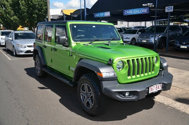 Used Jeep Wrangler JL MY19 Sport S (4x4) Toowoomba, 2019 Jeep Wrangler JL MY19 Sport S (4x4) Green 8 Speed Automatic Softtop