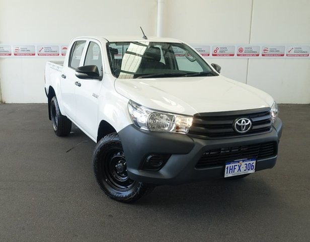 Pre-Owned Toyota Hilux GUN125R Workmate (4x4) Rockingham, 2017 Toyota Hilux GUN125R Workmate (4x4) Glacier White 6 Speed Automatic Dual Cab Utility