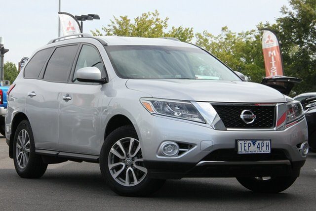 Used Nissan Pathfinder R52 MY14 ST X-tronic 2WD Essendon North, 2013 Nissan Pathfinder R52 MY14 ST X-tronic 2WD Silver, Chrome 1 Speed Constant Variable Wagon