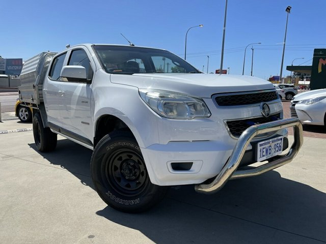 Used Holden Colorado RG LX (4x2) Victoria Park, 2013 Holden Colorado RG LX (4x2) White 5 Speed Manual Crew Cab Chassis