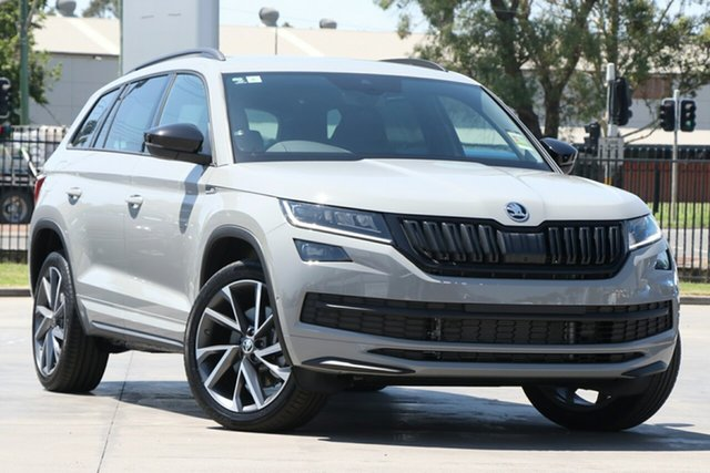 New Skoda Kodiaq NS MY21 132TSI DSG Sportline Parramatta, 2020 Skoda Kodiaq NS MY21 132TSI DSG Sportline Steel Grey 7 Speed Sports Automatic Dual Clutch Wagon