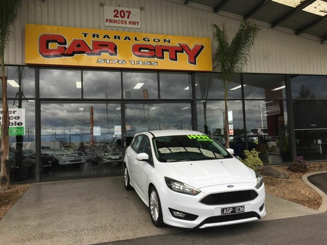 Used Ford Focus LZ Sport Traralgon, 2016 Ford Focus LZ Sport White 6 Speed Automatic Hatchback