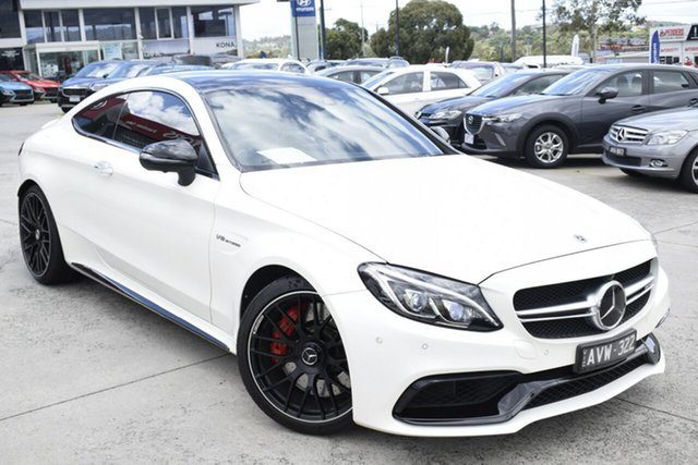 Used Mercedes-Benz C-Class C205 808MY C63 AMG SPEEDSHIFT MCT S Ferntree Gully, 2018 Mercedes-Benz C-Class C205 808MY C63 AMG SPEEDSHIFT MCT S White 7 Speed Sports Automatic Coupe