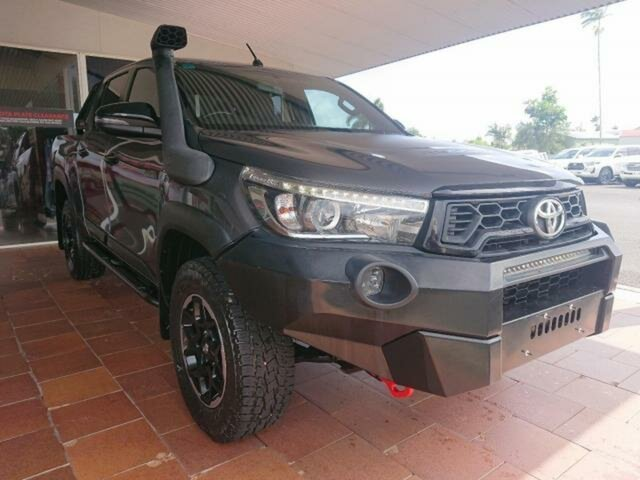 Pre-Owned Toyota Hilux GUN126R MY19 Rugged X (4x4) Innisfail, 2018 Toyota Hilux GUN126R MY19 Rugged X (4x4) Graphite 6 Speed Automatic Double Cab Pick Up