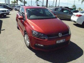 2015 Volkswagen Polo 6R MY16 66TSI DSG Trendline Red 7 Speed Sports Automatic Dual Clutch Hatchback.