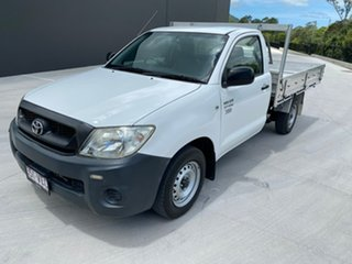 2010 Toyota Hilux TGN16R MY10 Workmate 4x2 White 4 Speed Automatic Cab Chassis.