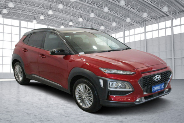 Used Hyundai Kona OS MY18 Elite 2WD Victoria Park, 2017 Hyundai Kona OS MY18 Elite 2WD Pulse Red & Phantom Black Roof 6 Speed Sports Automatic Wagon