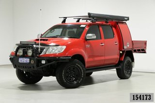 2013 Toyota Hilux KUN26R MY12 SR5 (4x4) Red 4 Speed Automatic Dual Cab Pick-up.