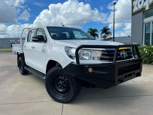 Used Toyota Hilux GUN126R SR Double Cab Townsville, 2016 Toyota Hilux GUN126R SR Double Cab White 6 Speed Sports Automatic Cab Chassis