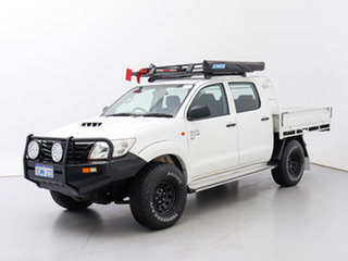 2014 Toyota Hilux KUN26R MY12 SR (4x4) White 5 Speed Manual Dual Cab Chassis.