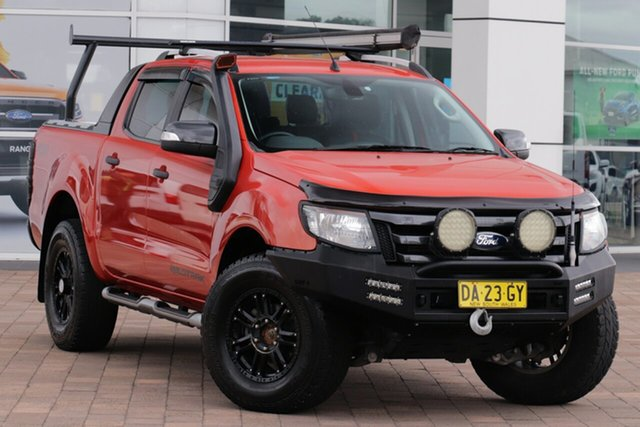 Used Ford Ranger PX Wildtrak Double Cab Warwick Farm, 2014 Ford Ranger PX Wildtrak Double Cab Orange 6 Speed Sports Automatic Utility