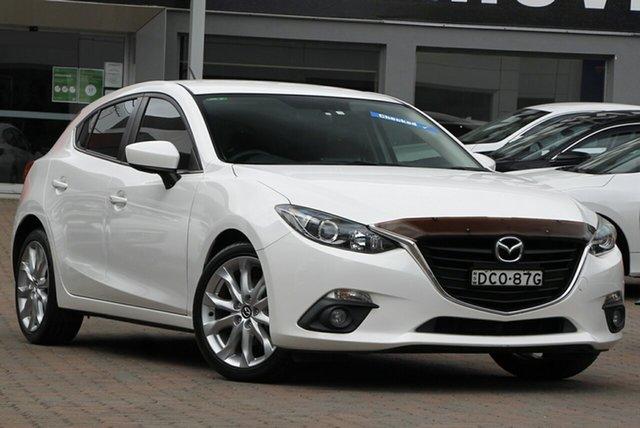 Used Mazda 3 BM5438 SP25 SKYACTIV-Drive Parramatta, 2015 Mazda 3 BM5438 SP25 SKYACTIV-Drive White 6 Speed Sports Automatic Hatchback