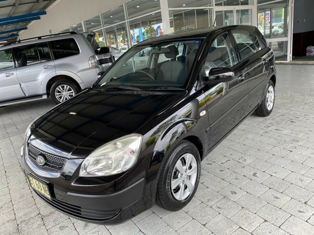 Used Kia Rio JB LX Taree, 2009 Kia Rio JB LX Black 5 Speed Manual Hatchback