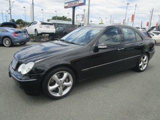 2004 Mercedes-Benz C-Class W203 MY2003 C200 Kompressor Elegance Black 5 Speed Sports Automatic Sedan.