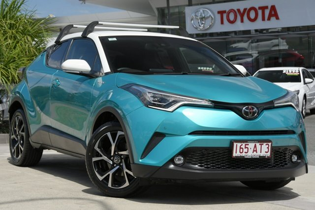 Pre-Owned Toyota C-HR NGX10R Koba S-CVT 2WD North Lakes, 2017 Toyota C-HR NGX10R Koba S-CVT 2WD Electric Teal & White 7 Speed Constant Variable Wagon