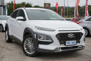 2018 Hyundai Kona OS MY18 Elite D-CT AWD Chalk White 7 Speed Sports Automatic Dual Clutch Wagon.