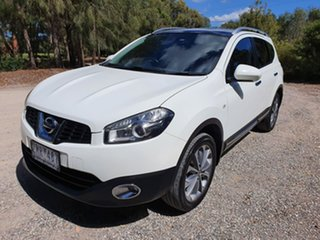 2012 Nissan Dualis J10 Series 3 +2 Ti White Constant Variable Hatchback.
