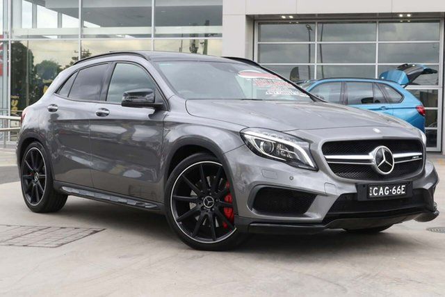 Used Mercedes-Benz GLA-Class X156 806MY GLA45 AMG SPEEDSHIFT DCT 4MATIC Liverpool, 2015 Mercedes-Benz GLA-Class X156 806MY GLA45 AMG SPEEDSHIFT DCT 4MATIC Mountain Grey 7 Speed