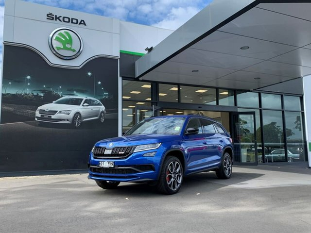 Demo Skoda Kodiaq NS MY21 RS DSG Botany, 2020 Skoda Kodiaq NS MY21 RS DSG Blue 7 Speed Sports Automatic Dual Clutch Wagon