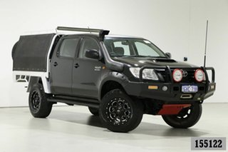2013 Toyota Hilux KUN26R MY12 SR (4x4) Black 5 Speed Manual Dual Cab Chassis.