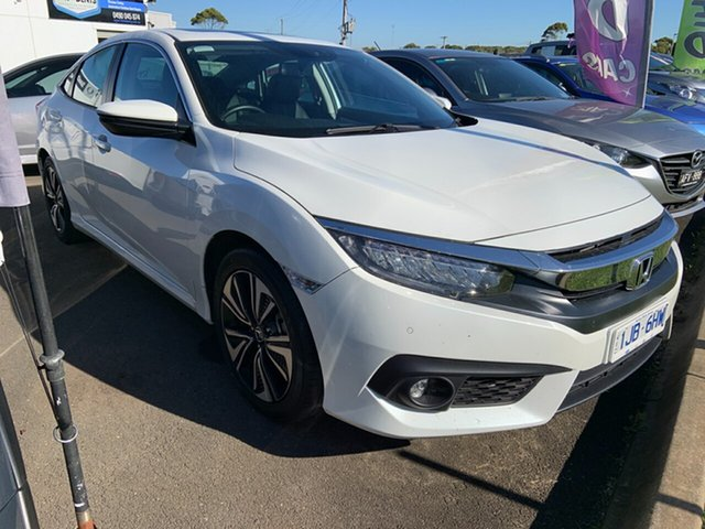 Used Honda Civic 10th Gen MY16 VTi-LX Warrnambool East, 2017 Honda Civic 10th Gen MY16 VTi-LX White 1 Speed Constant Variable Sedan