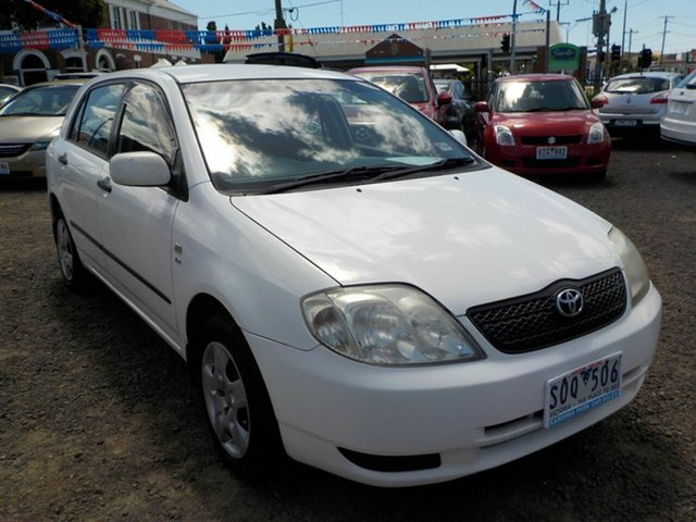 Used Toyota Corolla ZZE122R Ascent Seca Newtown, 2003 Toyota Corolla ZZE122R Ascent Seca White 4 Speed Automatic Hatchback