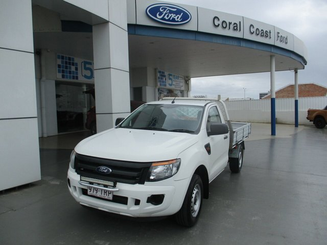 Used Ford Ranger PX XL 2.2 (4x2) Bundaberg, 2014 Ford Ranger PX XL 2.2 (4x2) White 6 Speed Manual Cab Chassis