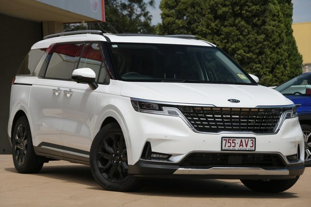 Demo Kia Carnival KA4 MY21 Platinum Toowoomba, 2020 Kia Carnival KA4 MY21 Platinum Snow White Pearl 8 Speed Sports Automatic Wagon